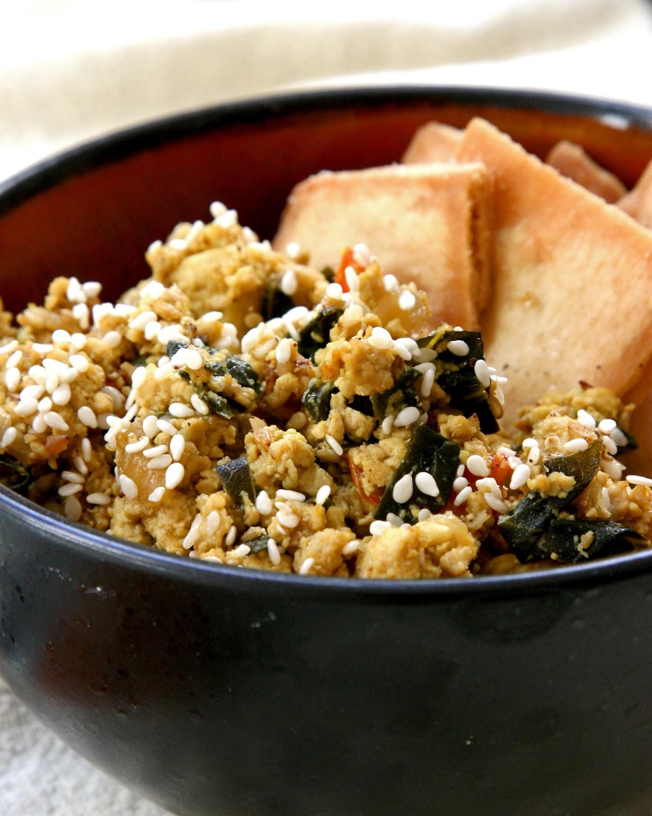 hanna's vegan kitchen: sesame tofu scramble