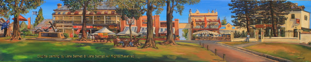 plein air oil painting of a panorama of Thompson's Square & George Street, Windsor,painted by artist Jane Bennett