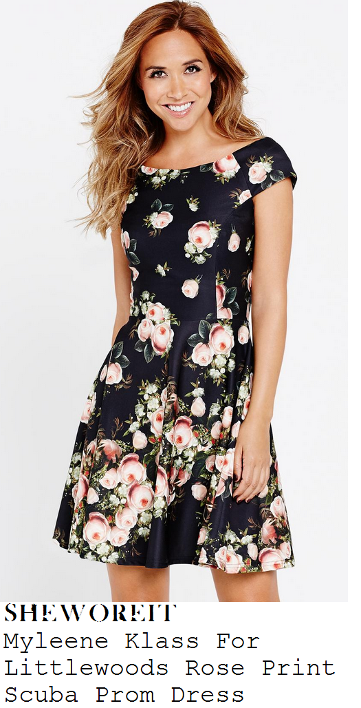 myleene-klass-black-and-pink-floral-rose-print-cap-sleeve-prom-dress-art-exhibition