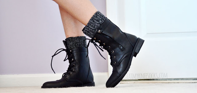 More modeled photos of the black lace-up knit-trim mid-calf combat boots from AMIClubwear.