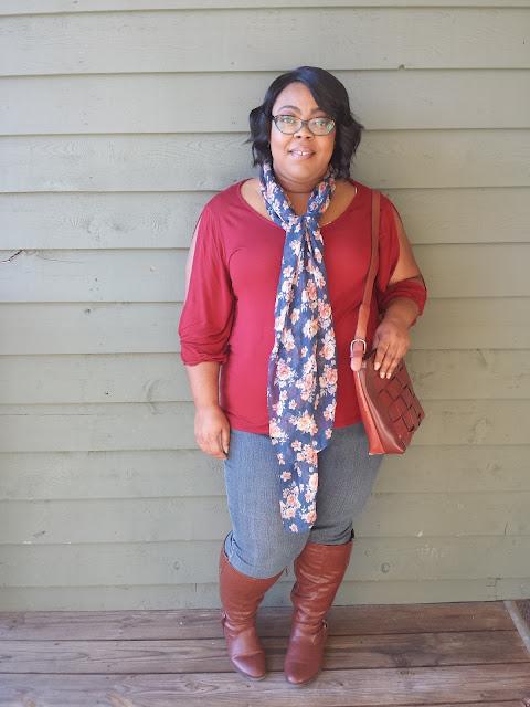 split sleeve top, denim jeans, knee high boots
