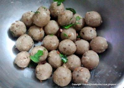 Thinai Neer Kozhukattai [ Foxtail Millet Dumpling in water ]