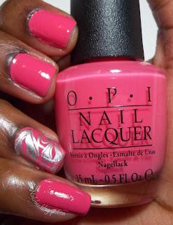 Nail Stamping manicure using OPI 'Elephantastic Pink', Sally Hansen 'Silver Sweep', and Messy Mansion Bridal Nail Plate 05