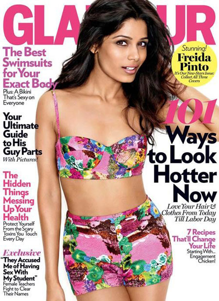 Freida Pinto Cover of Glamour - Freida Pinto Sizzles on Cover of Glamour