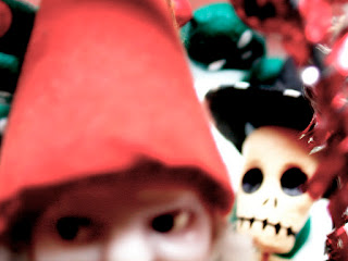 Christmas Gnome and Skeleton from early 2001 photography for Grim Happy Christmas