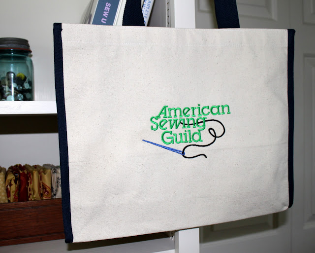 American Sewing Guild embroidered tote bag