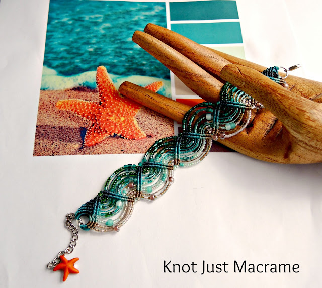 Micro macrame bracelet with random bead placement by Sherri Stokey