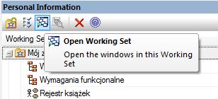 Przycisk Open Working Set - automatyczne otwarcie diagramów i widoków