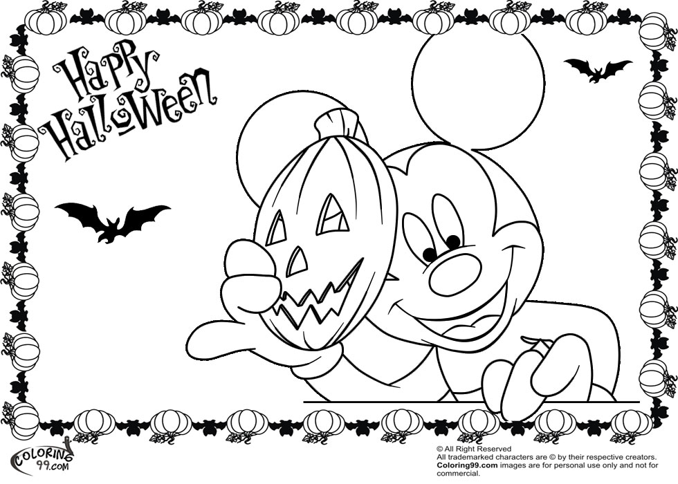 Mickey Mouse With Halloween Pumpkin Mask Coloring Pages