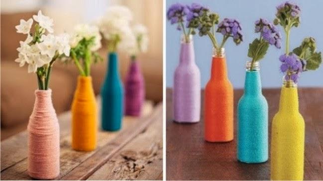 reciclagem de vidro, garrafas decoradas com vidro