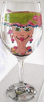 hand painted wine glass of a lady in a hat
