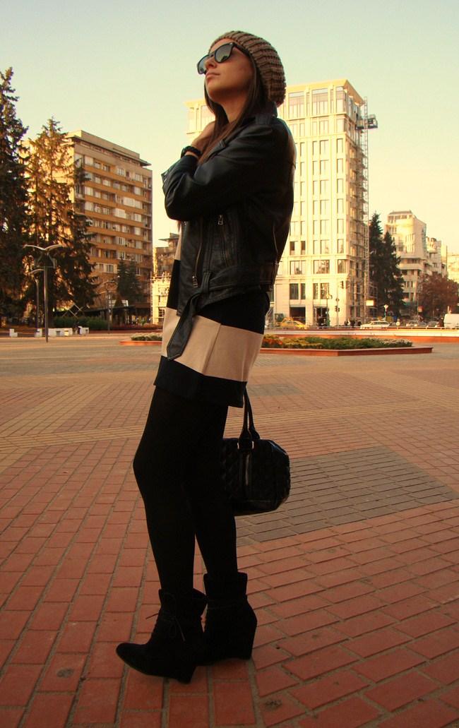 maya madanska from iheartmaya blog wearing h&m beige and black stripe short sleeve dress, with topshop black biker leather jacket, zara black suede wedges, marc by marc jacobs black quilted handbag, ray ban black wayfarer sunglasses