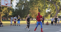See a spiderman playing basketball and inspire young kids to reach fro their dreams.