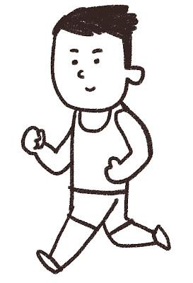 マラソン選手のイラスト(スポーツ) モノクロ線画