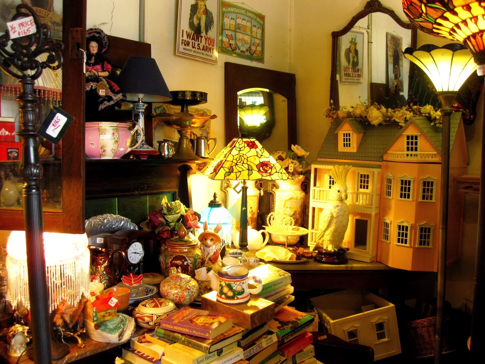 Corner of The Old Tythe Barn dolls house shop at Blackheath
