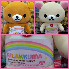 (INSTOCK Click to see) BIG SIZE Happy Rainbow Rilakkuma & Korilakkuma Plush For Sale