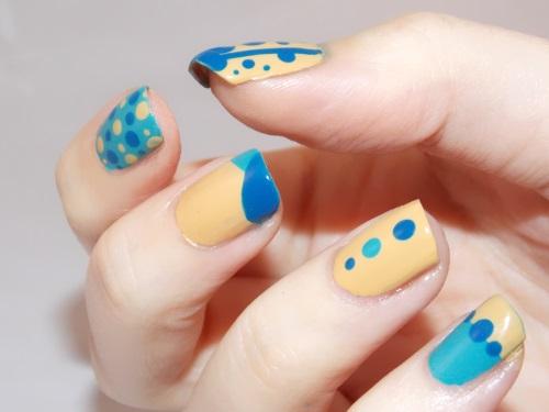 nail art dots tape blue blog beauté psychosexy