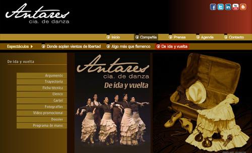 página web de Antares Cía de Danza: espectáculos de danza española y clásica: Algo más que flamenco, De ida y vuela, Donde soplan vientos de libertad