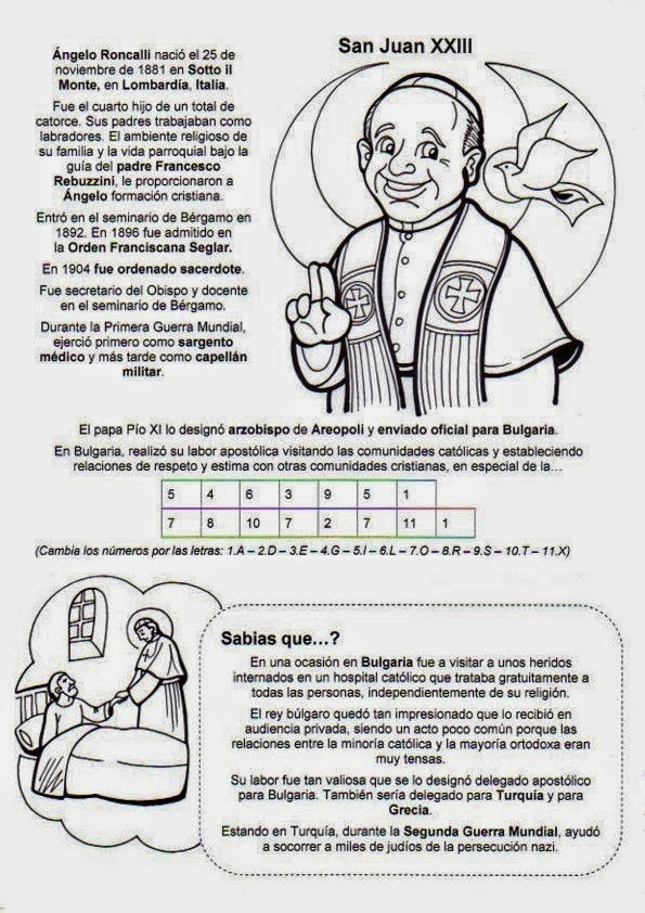 Gifs y Fondos Paz enla Tormenta ®: VIDA DE SAN JUAN XXIII PARA COLOREAR