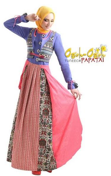 Aneka model baju muslim variasi batik terbaru Model baju gamis batik variasi