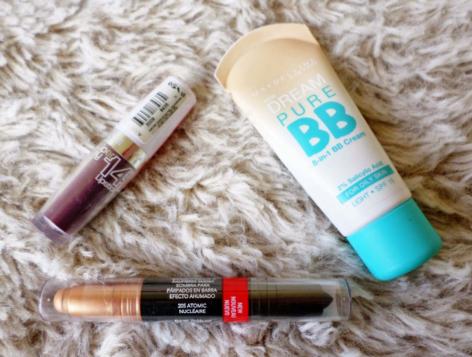 Maybelline Dream Pure BB 8-in-1 BB Cream in Light, Super Stay 14hr Lipstick in Always Plum 260 & Revlon Colorstay Smoky Shadow Stick in 205 Atomic