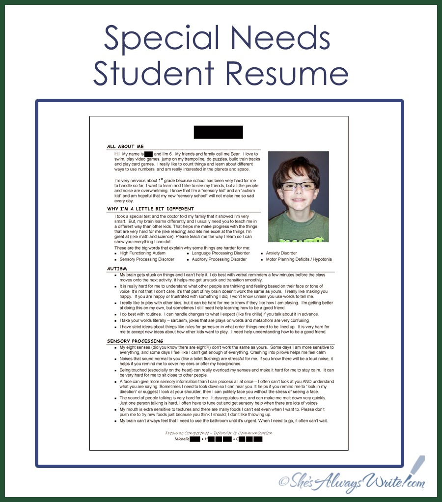 She\'s Always Write: Special Needs Student Resume 2014 Update