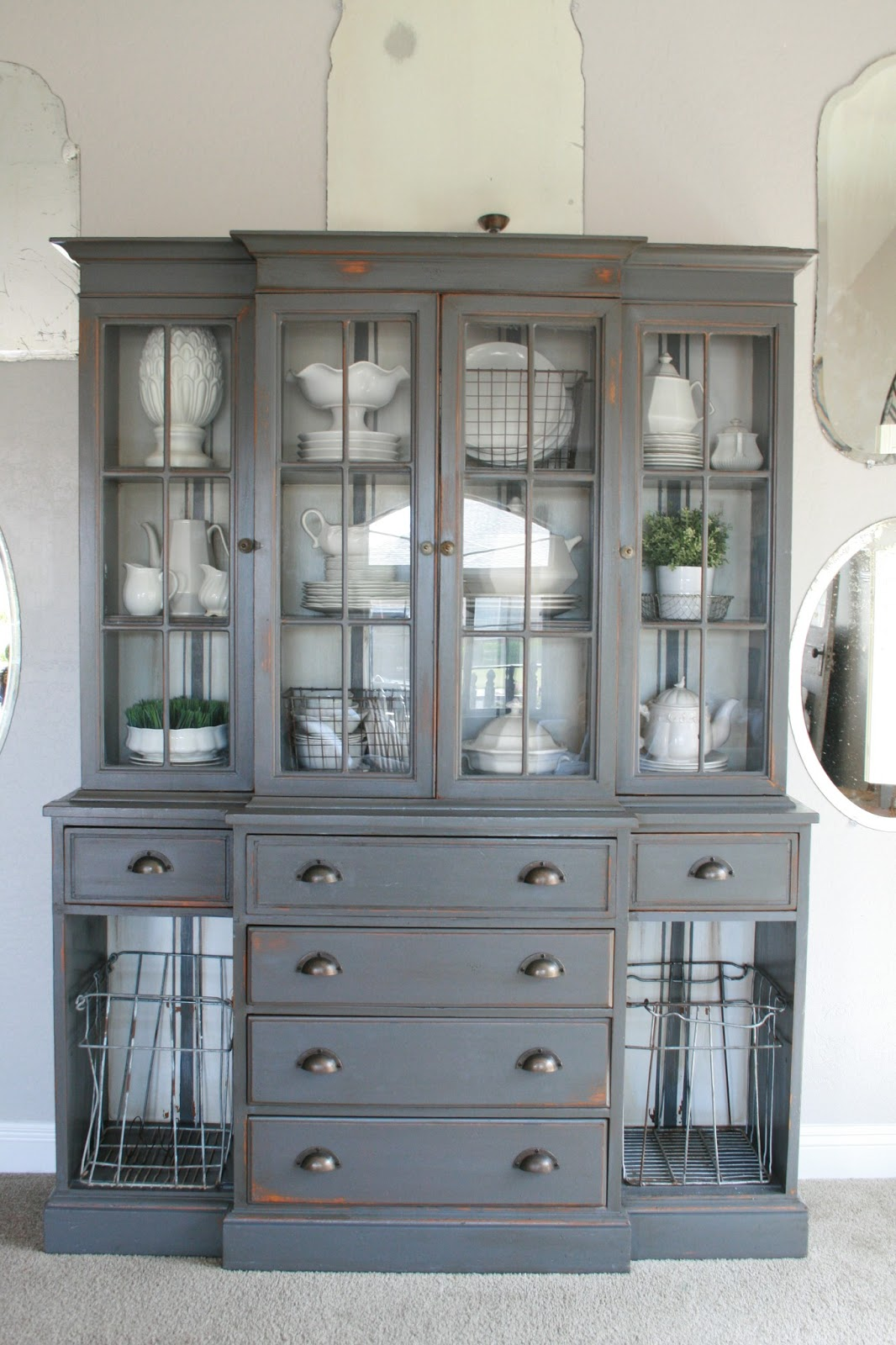 Grand design grain sack stripe inspired hutch for Hutch decor