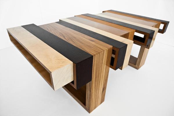 Mesas de diseo con madera recicladaEspacios en madera