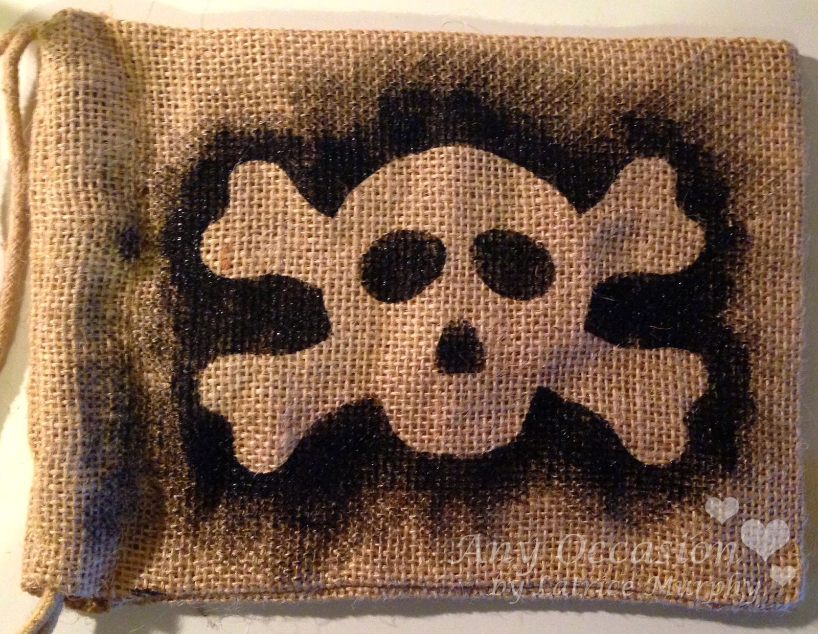 SRM Stickers Blog - Pirate Goodie Bags by Latrice - #muslin #burlap #stencil #twine #thank you #stickers