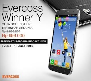 Evercoss Winner Y Rp 999.000 Bonus Kartu Perdana Kuota 1.5 GB