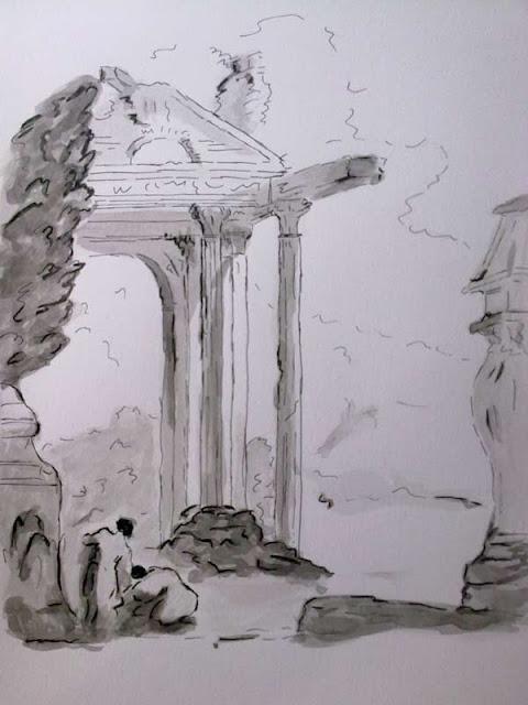 paisaje clasico de ruinas con tinta china