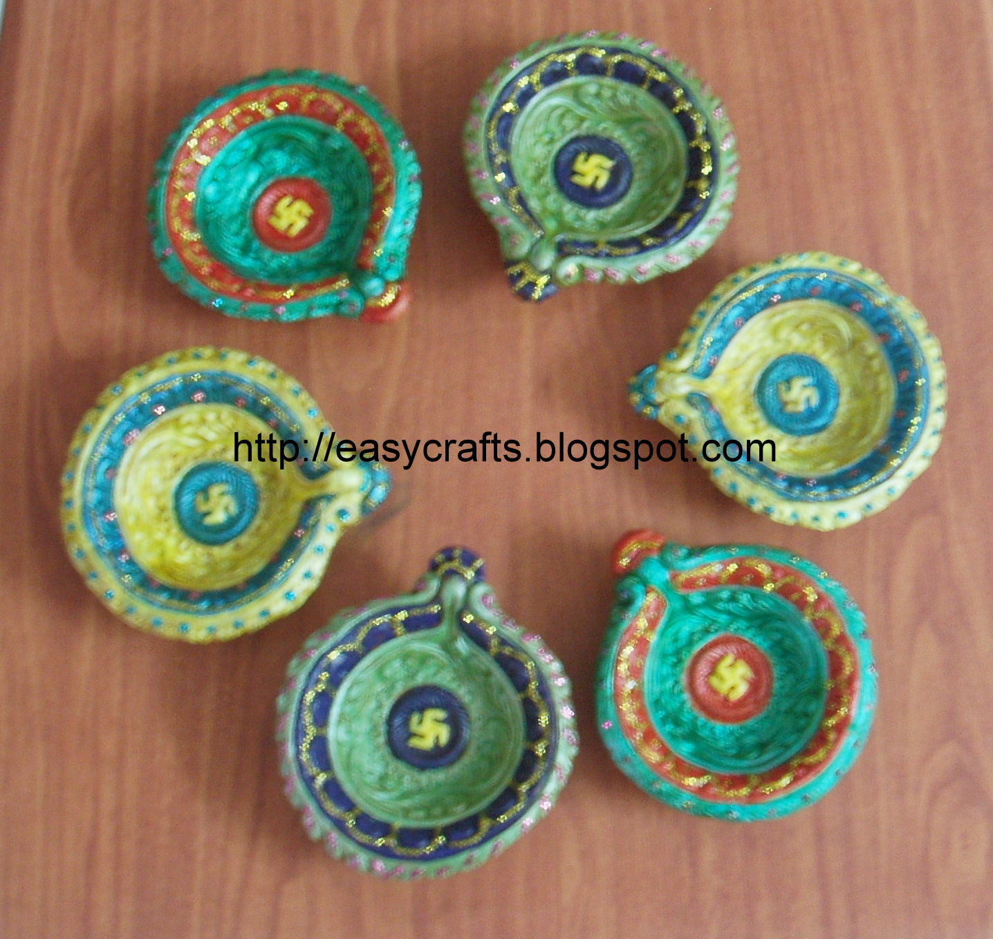 easy crafts explore your creativity painted diyas ForAgal Vilakku Decoration