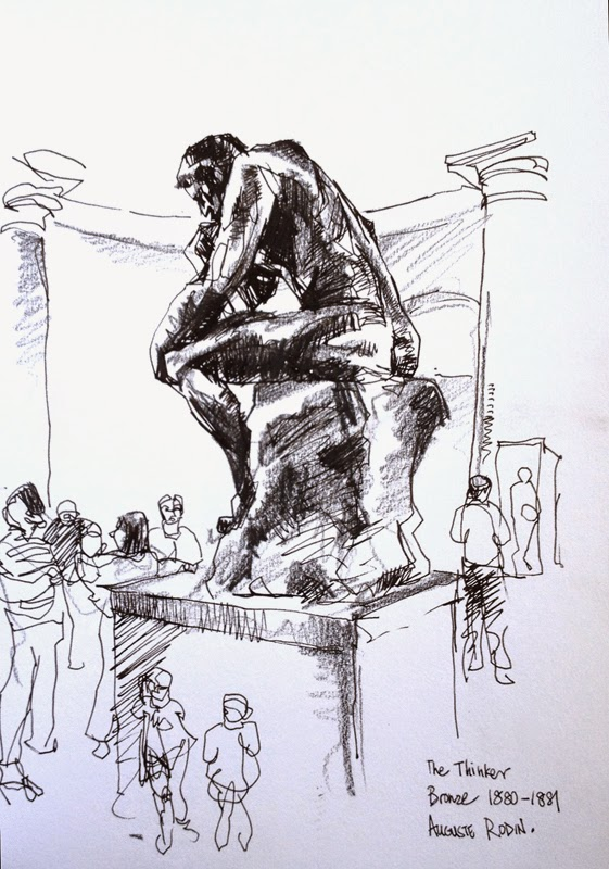 The Thinker Rodin Sketch
