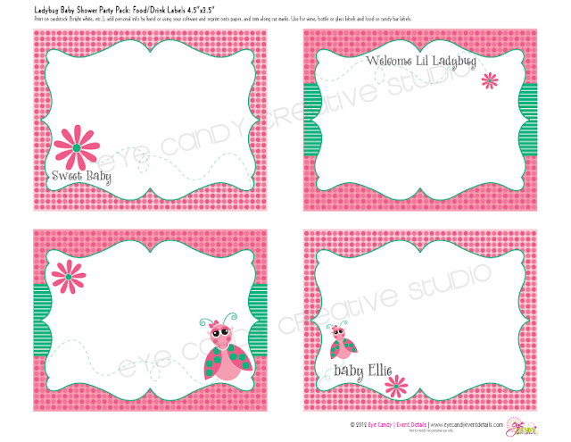 food labels, drink labels, decor labels for baby shower, ladybug & daisy