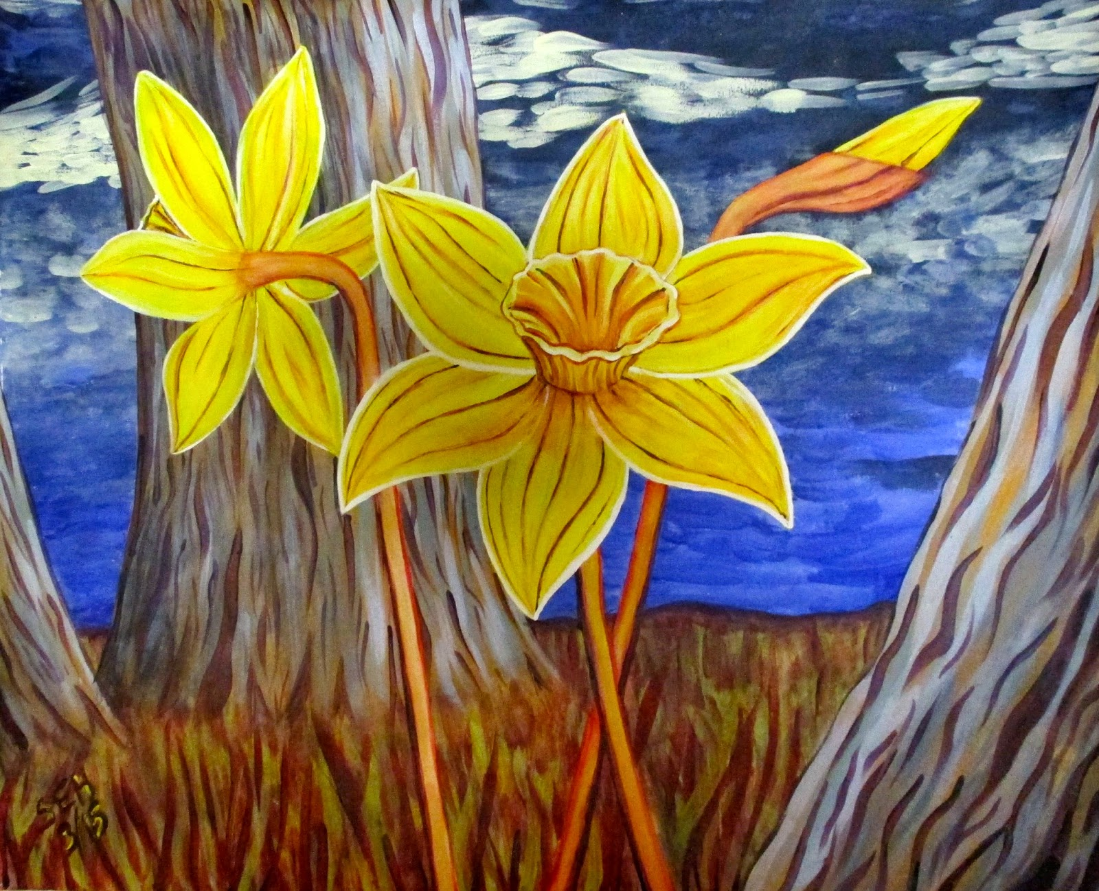 daffodil painting