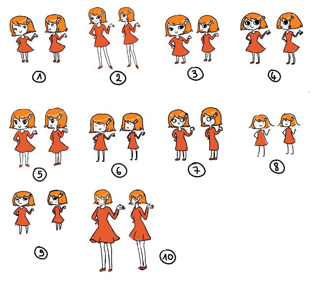 Charlotte dessinée sous plusieurs styles différents