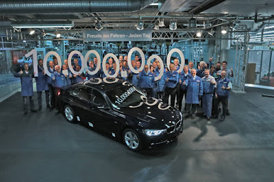 BMW workers celebrate the 10 millionth 3 series
