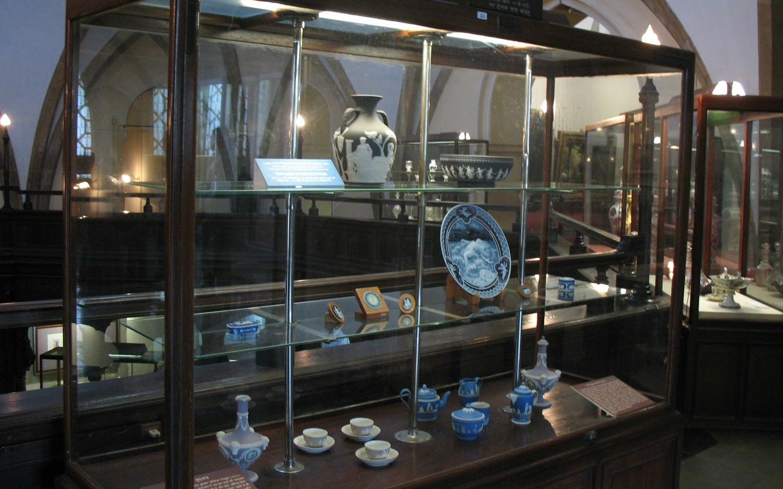 Display case of Wedgwood objects at Chhatrapati Shivaji Maharaj Vastu Sangrahalaya (CSMVS) Museum in Mumbai, India