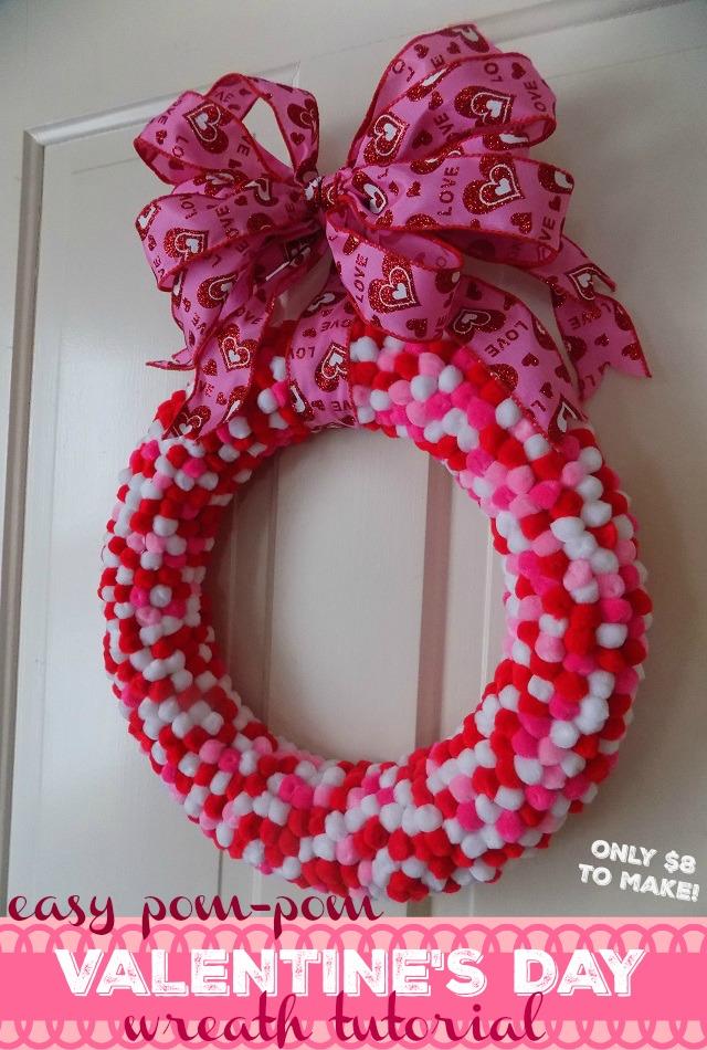 Easy Valentineu0027s Day Pompom Wreath Tutorial