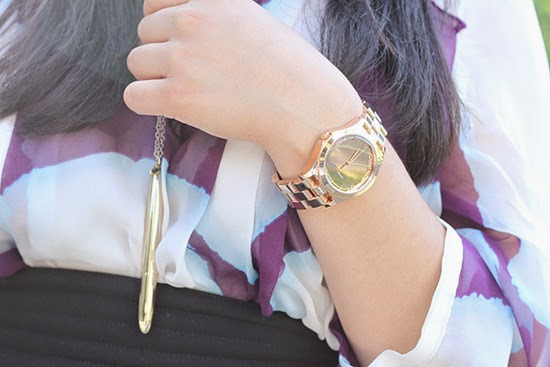 Pen Necklace and Rose Gold Watch