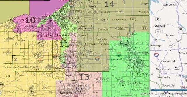 Ohio map Cleveland