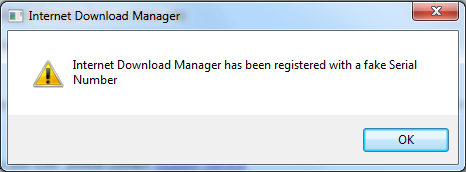 Popup notice of Internet Download Manager Fake Serial