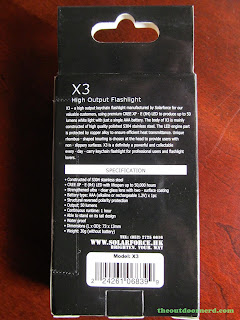 SolarForce X3 AAA Flashlight - In box: back