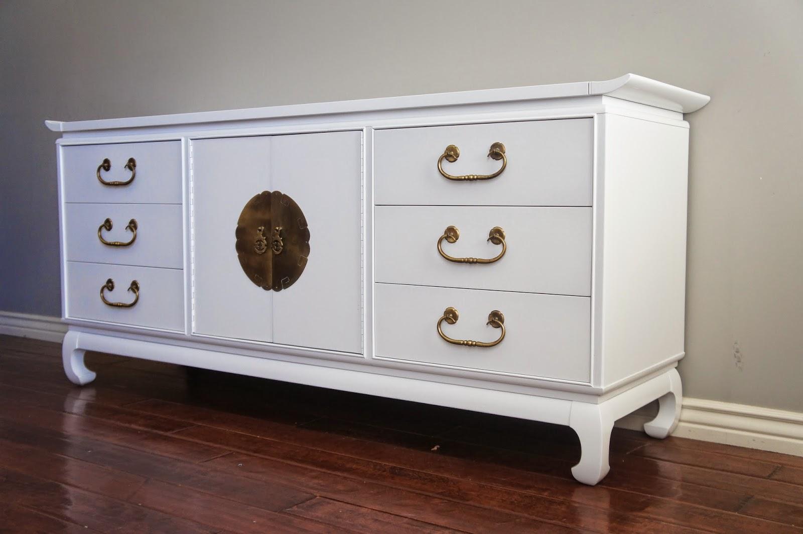 Beau Regency Modern High Gloss White Lacquered Dresser