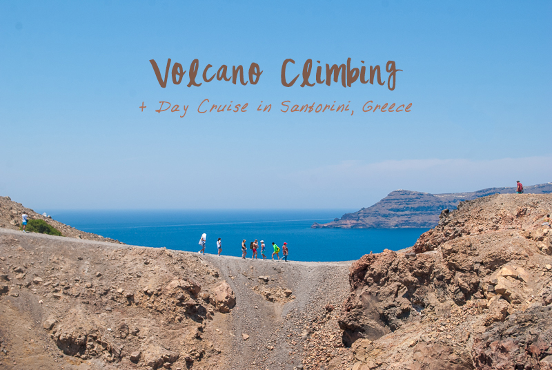 people climbing a volcano in santorini image