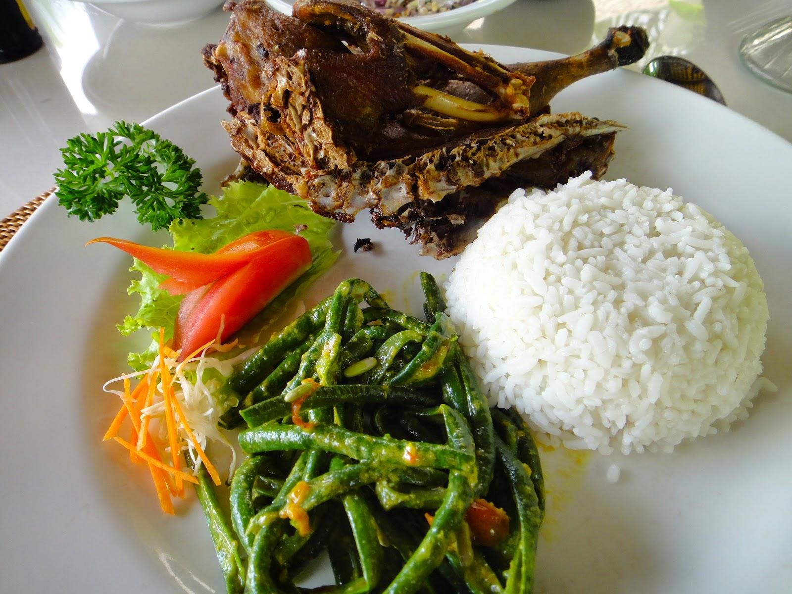 Bebek Dish at Bebek Tepi Sawah Ubud Bali Indonesia