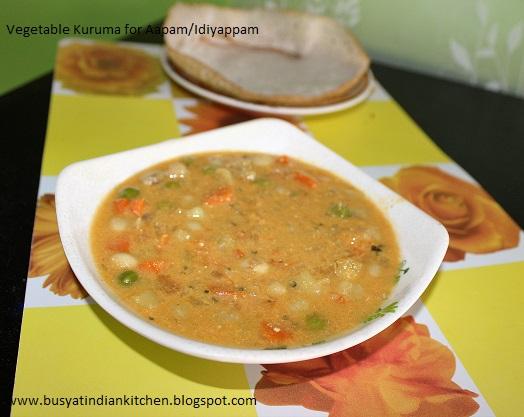 vegetable kuruma for aapam/idiyappam
