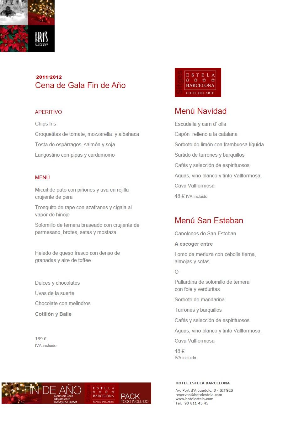 Hotel estela barcelona sitges hotel del arte sitges - Menu cena de nochevieja ...