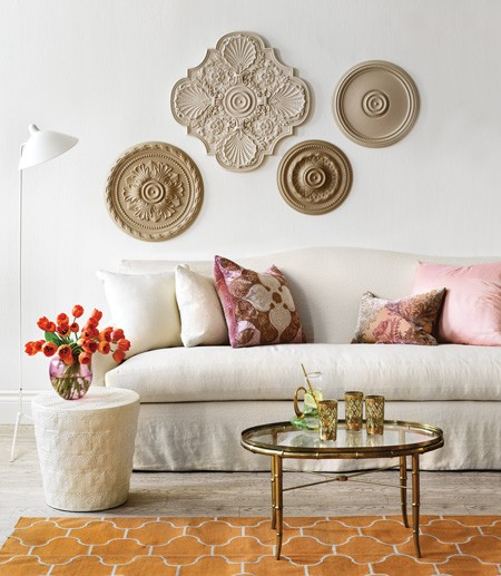 Decorar la pared con medallones de techo: ceiling rosettes