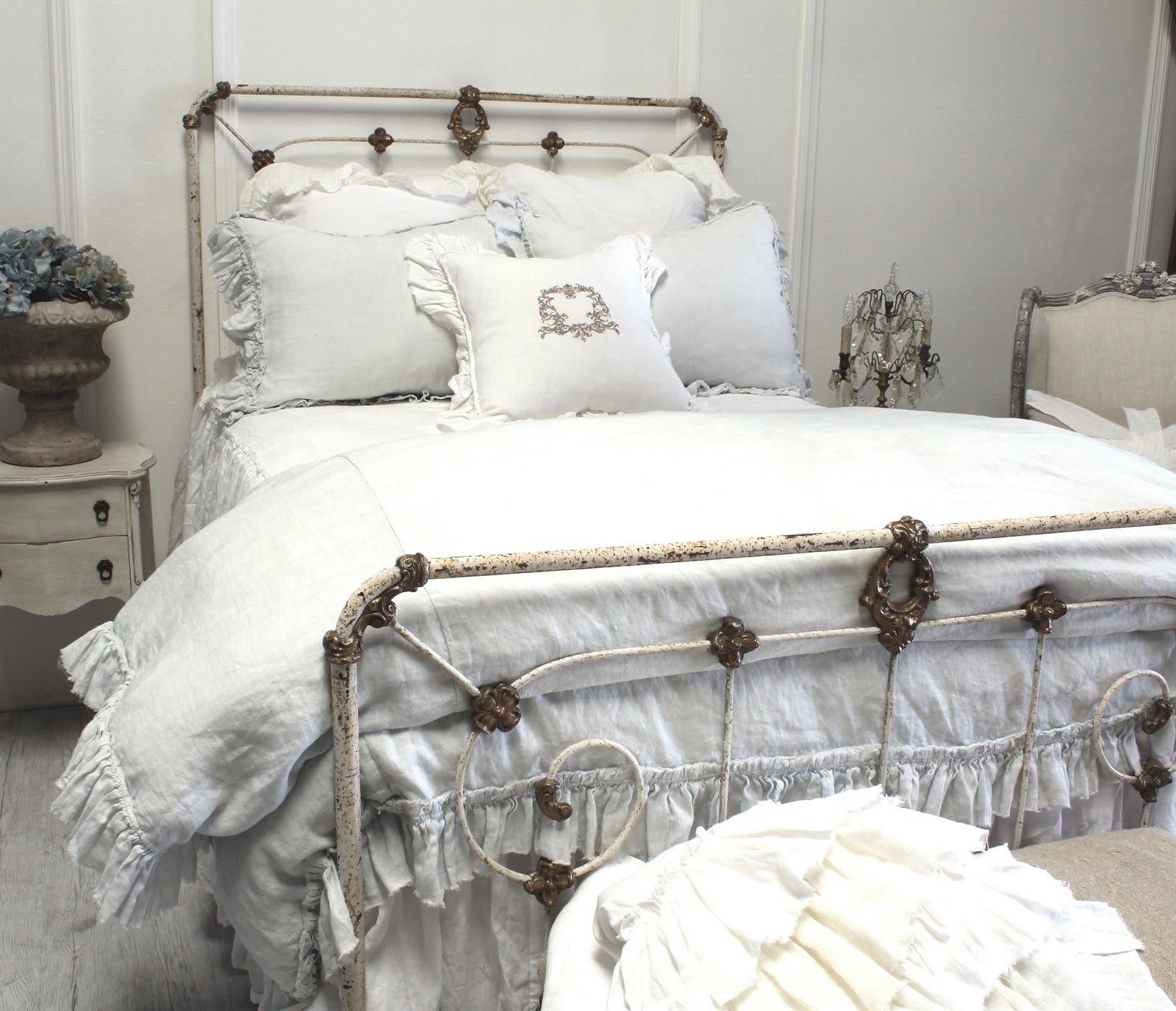 full bloom cottage: linen ruffle bedding soft and organic.
